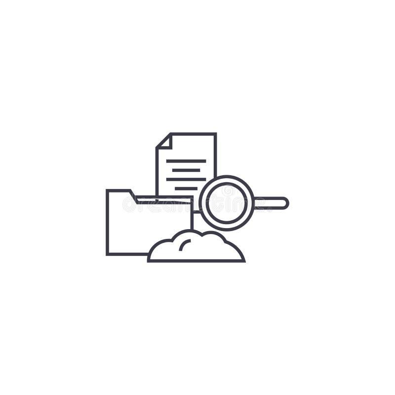 Wolk die vectorlijnpictogram, teken, illustratie op achtergrond, editable slagen ontvangen stock illustratie