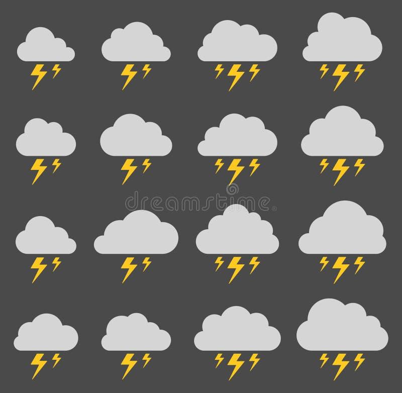 Wolk en bliksem, onweer op grijze achtergrond vector illustratie