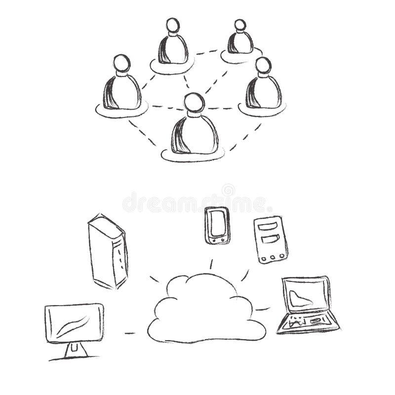 Wolk, gegevensverwerking, conceptie, schets vector illustratie