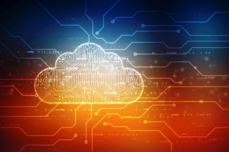 Wolk gegevensverwerking en het concept van de netwerkbeveiligingtechnologie vector illustratie