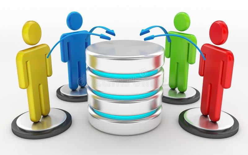Wolk gegevensverwerking en het concept van het servernetwerk stock illustratie