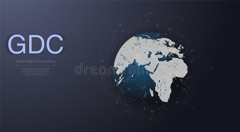 Wolk Gegevensverwerking en Netwerkenconcept met Aardebol - Abstracte Globale Digitale Verbindingen, Technologieachtergrond, royalty-vrije illustratie