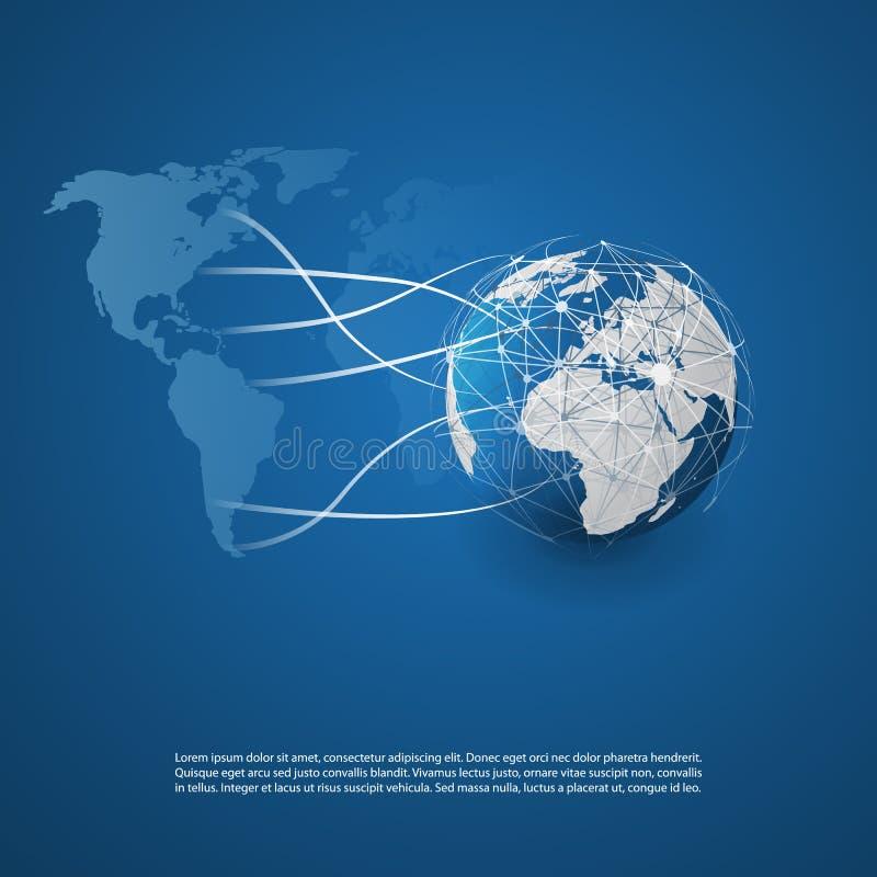 Wolk Gegevensverwerking en Netwerkenconcept met Aardebol en Wereldkaart - Abstracte Globale Digitale Verbindingen, Technologieach stock illustratie