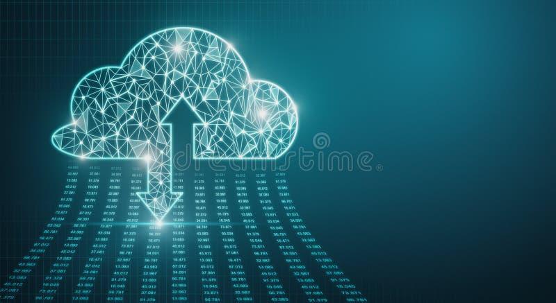 Wolk gegevensverwerking en serverconcept stock illustratie