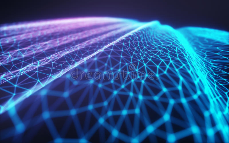 Wolk Gegevensverwerking/Neuraal Netwerk stock illustratie
