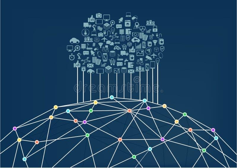 Wolk gegevensverwerking verbonden met het World Wide Web/Internet vector illustratie