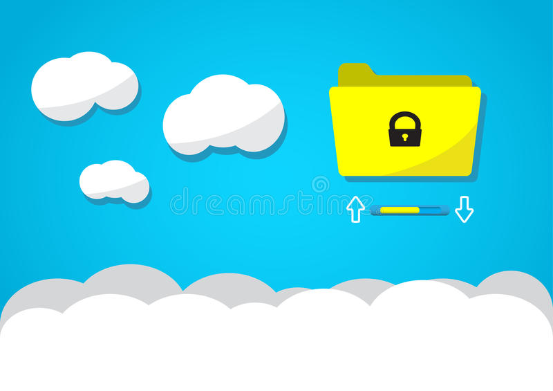 Wolk gegevensverwerking of wolkenopslag concept, omslagpictogram boven wolk, vector geïllustreerd eps 10 royalty-vrije stock afbeelding
