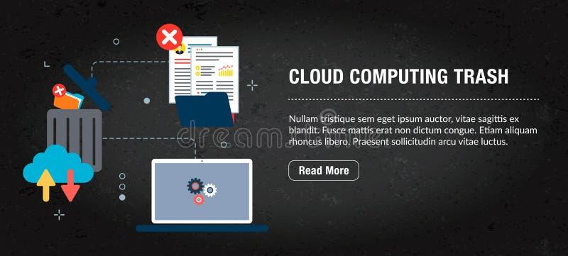 Wolk gegevensverwerkingsafval, banner Internet met pictogrammen in vector royalty-vrije illustratie