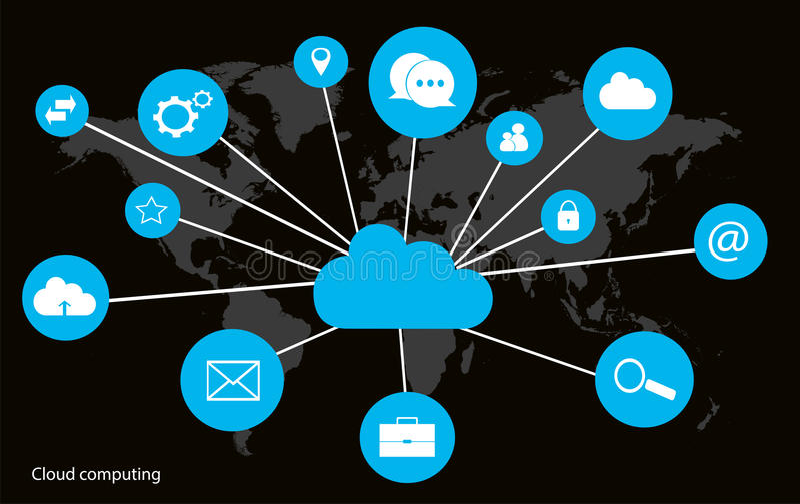 Wolk gegevensverwerkingsconcept met de interfaceneon van de wereldkaart royalty-vrije stock afbeeldingen