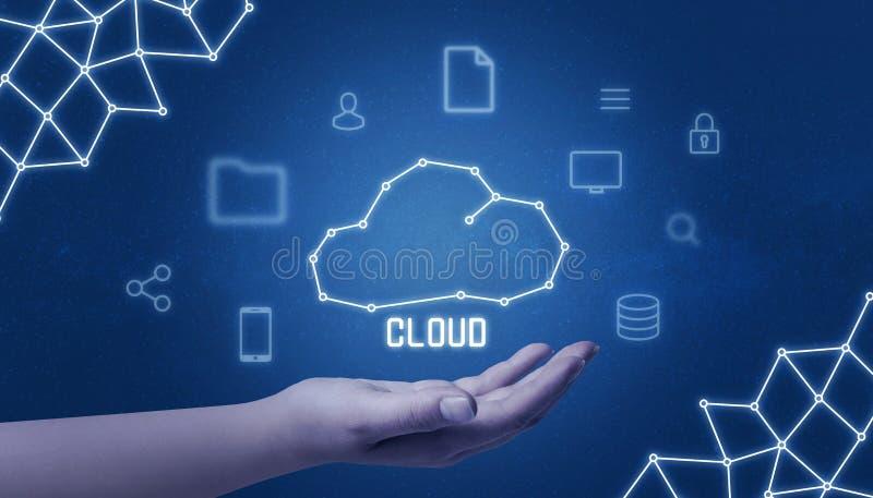 Wolk gegevensverwerkingsconcept met wolk trekken ter beschikking omringd met tehnologypictogrammen royalty-vrije illustratie