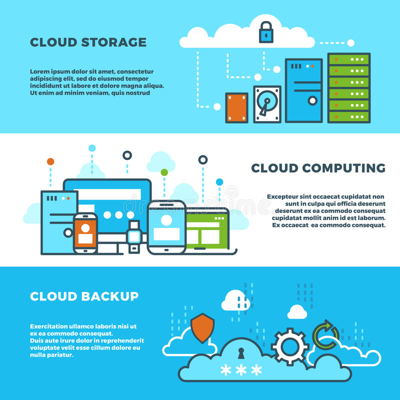 Wolk gegevensverwerkingsoplossing, de commerciële van de gegevensopslag diensten, informatietechnologie vector geplaatste banners stock illustratie