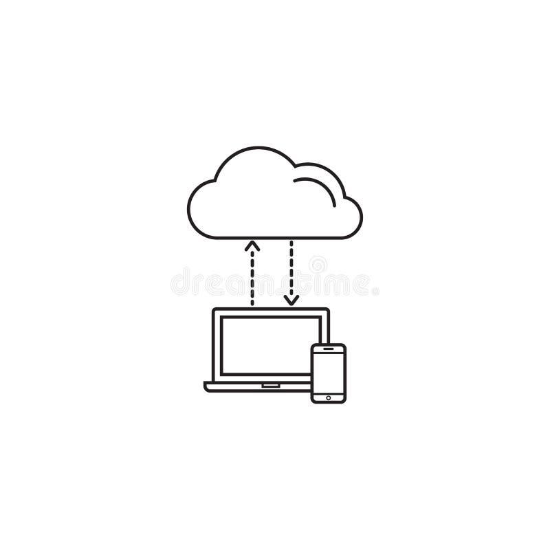 Wolk gegevensverwerkingssymbool, download, sociaal netwerk vector illustratie