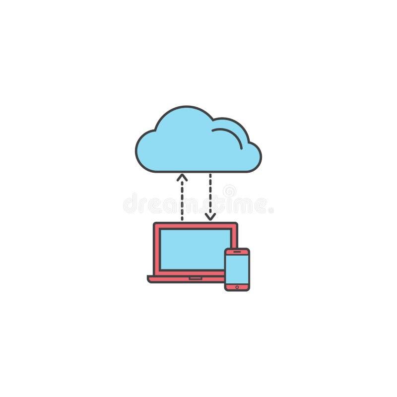 Wolk gegevensverwerkingssymbool, download, sociaal netwerk stock illustratie