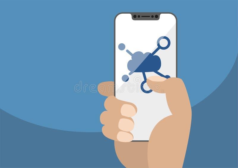 Wolk gegevensverwerkingssymbool op frameless touchscreen wordt getoond die stock illustratie