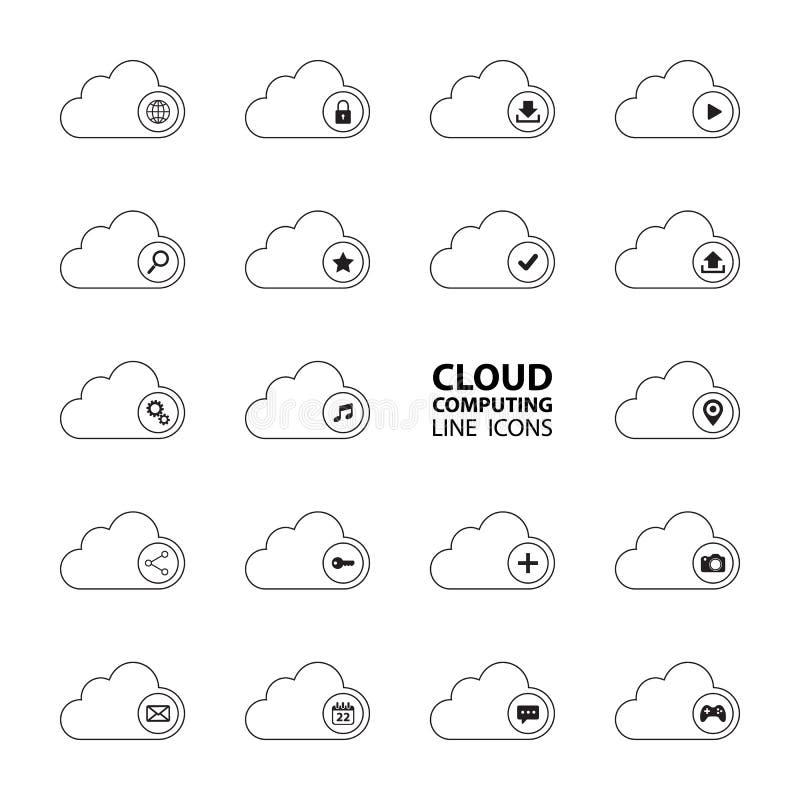Wolk geplaatste de pictogrammen van de gegevensverwerkingslijn Wolk gegevensverwerkingstechnologie De wolkendiensten royalty-vrije illustratie