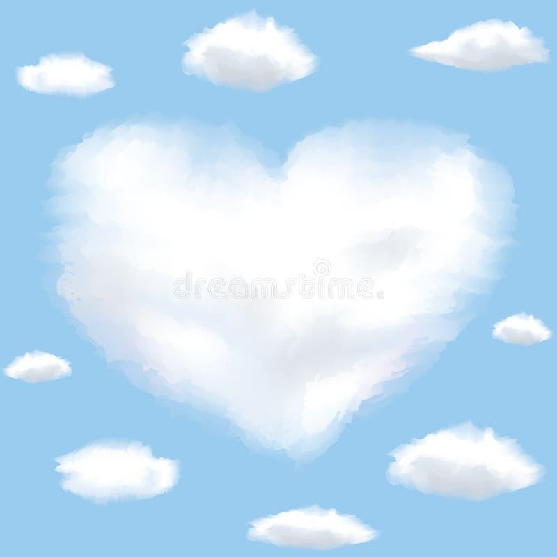 Wolk gevormd hart op een hemel royalty-vrije illustratie