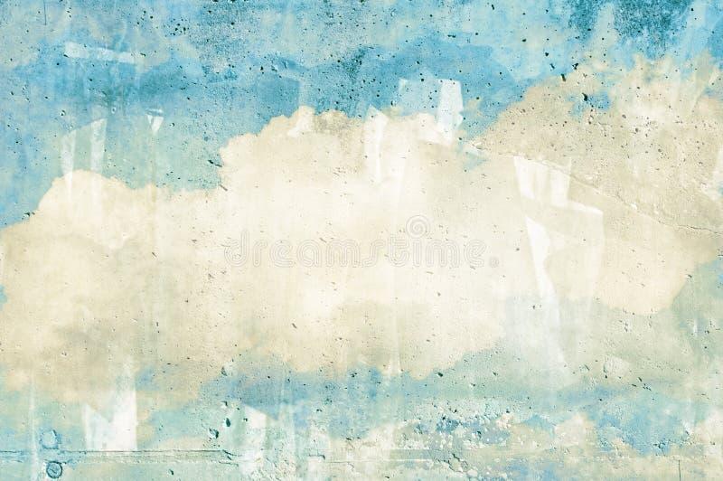 Wolk, hemel die op een muur wordt geschilderd royalty-vrije stock foto
