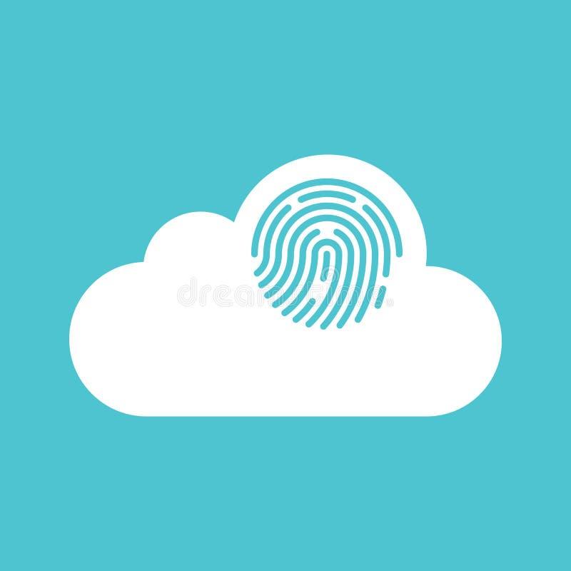 Wolk het concepten vlak ontwerp van de gegevensverwerkingsveiligheid royalty-vrije illustratie