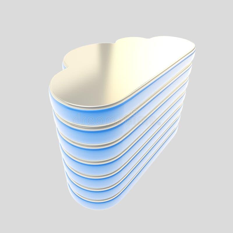 Wolk het embleem van het de servergegevensbestand van de gegevensverwerkingstechnologie vector illustratie