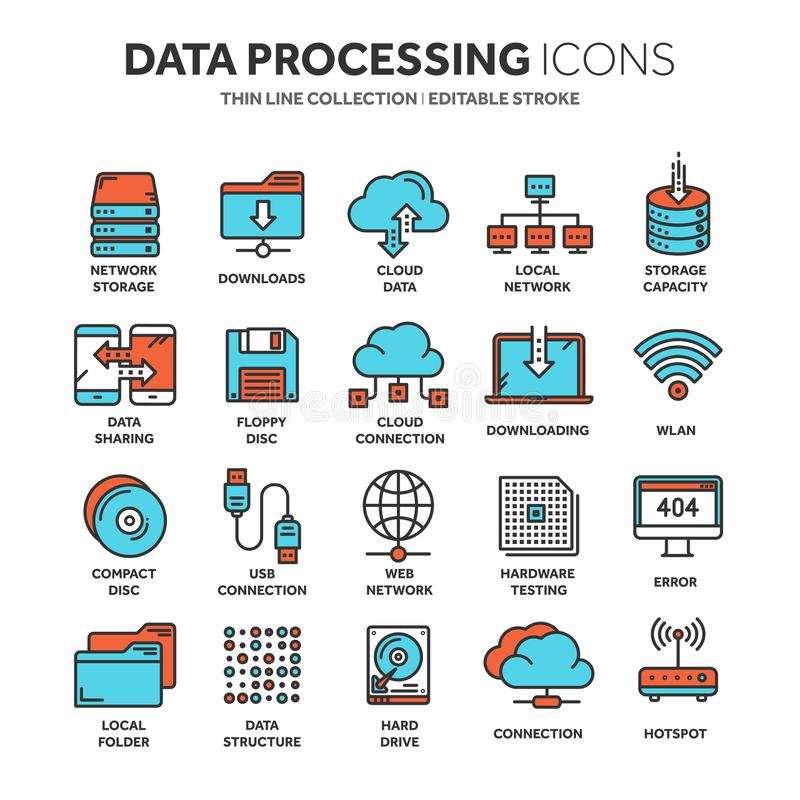Wolk het omputing De technologie van Internet De online diensten Gegevens - verwerking, informatiebeveiliging aansluting Dun lijn vector illustratie