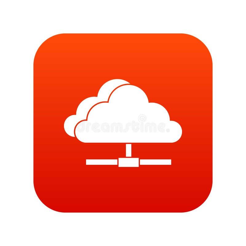 Wolk het pictogram digitaal rood van de gegevensverwerkingsverbinding royalty-vrije illustratie