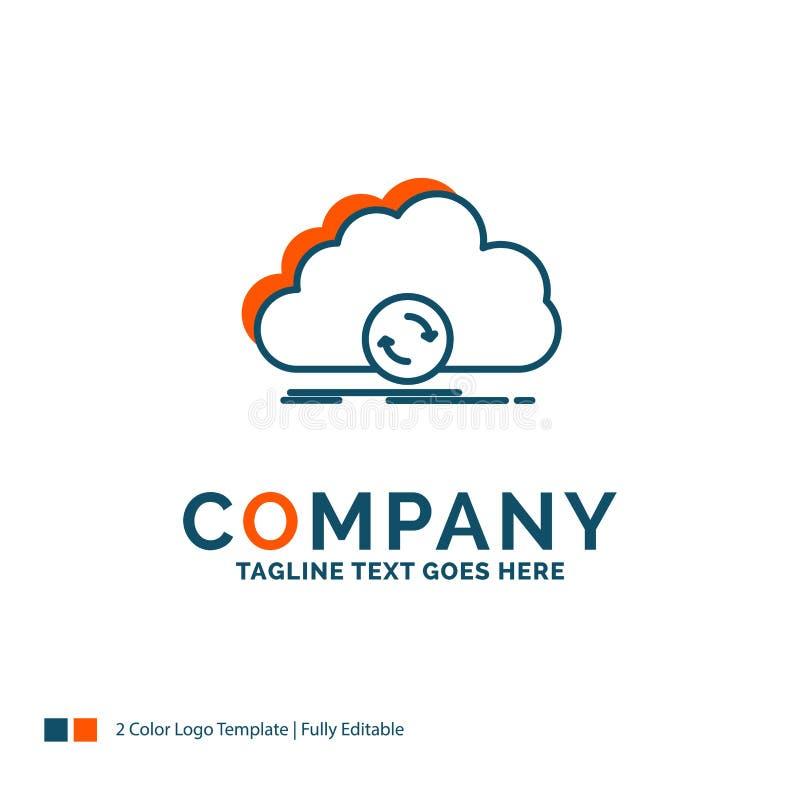 wolk, het syncing, synchronisatie, gegevens, synchronisatie Logo Design Blauw royalty-vrije illustratie