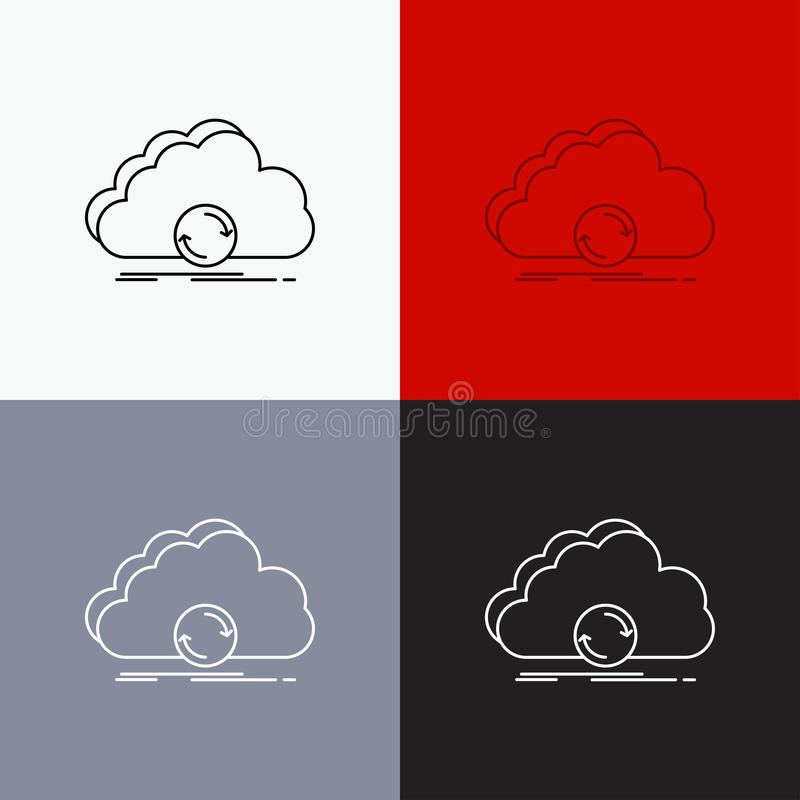 wolk, het syncing, synchronisatie, gegevens, synchronisatiepictogram over Diverse Achtergrond r Eps 10 vector illustratie