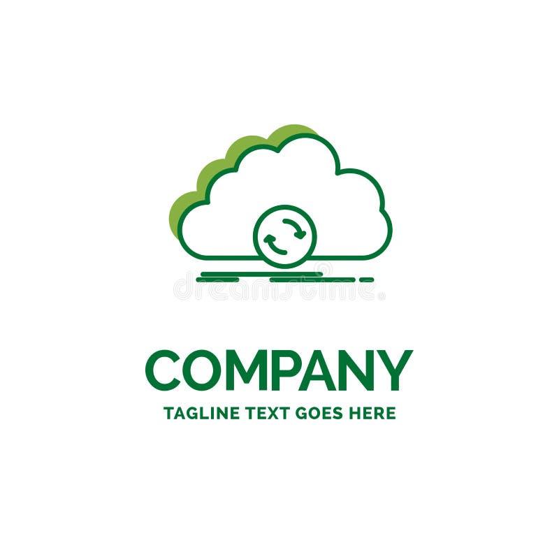 wolk, het syncing, synchronisatie, gegevens, synchronisatie Vlak Bedrijfsembleem t stock illustratie