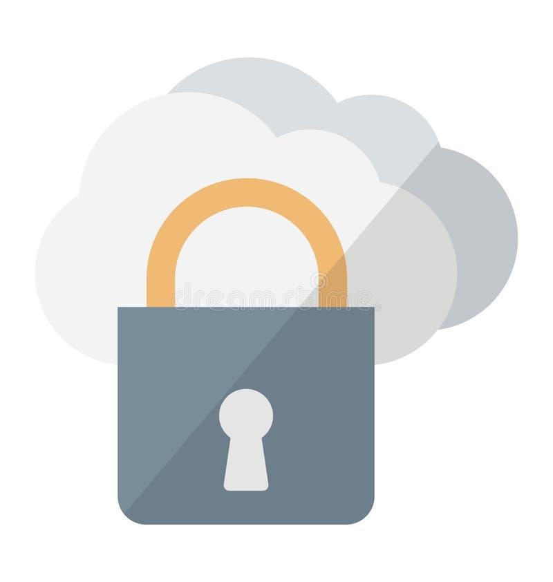 Wolk het Vectorpictogram van de gegevensverwerkingsveiligheid dat zich gemakkelijk kan wijzigen of uitgeven royalty-vrije illustratie