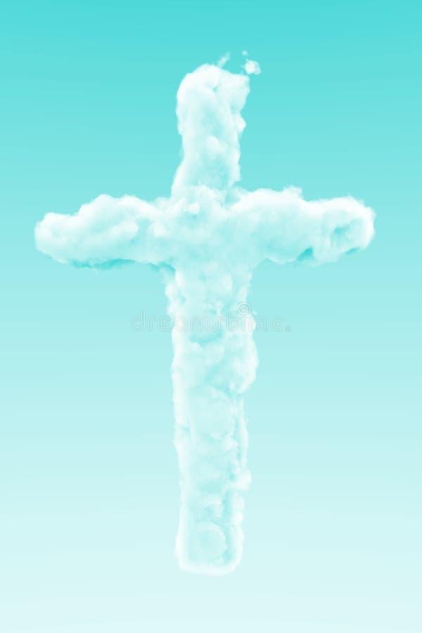 Wolk Jesus Christ Cross in de hemel vector illustratie