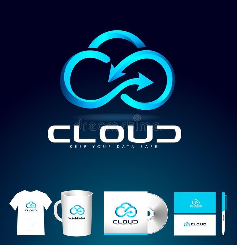 Wolk Logo Design De Vector van het wolkenpictogram royalty-vrije illustratie
