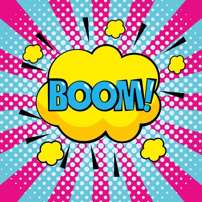 Wolk met het bericht van het boowpop-art stock illustratie