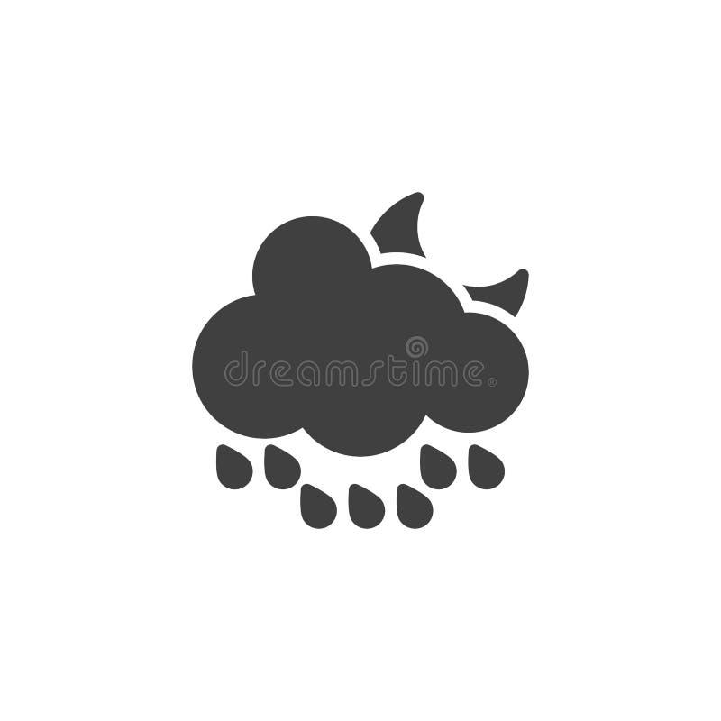 Wolk met regendruppels en toenemend maan vectorpictogram stock illustratie