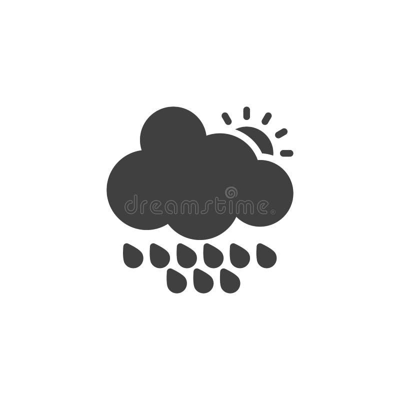 Wolk met regendruppels en zon vectorpictogram royalty-vrije illustratie