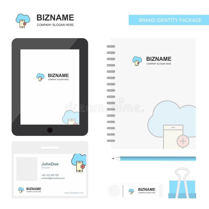 Wolk met smartphone Bedrijfsembleem, Tab App, de Werknemerskaart van Agendapvc en USB-het Ontwerp Vectormalplaatje van het Merk S stock illustratie