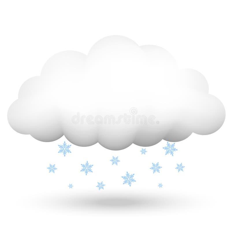 Wolk met sneeuwvlokken royalty-vrije illustratie