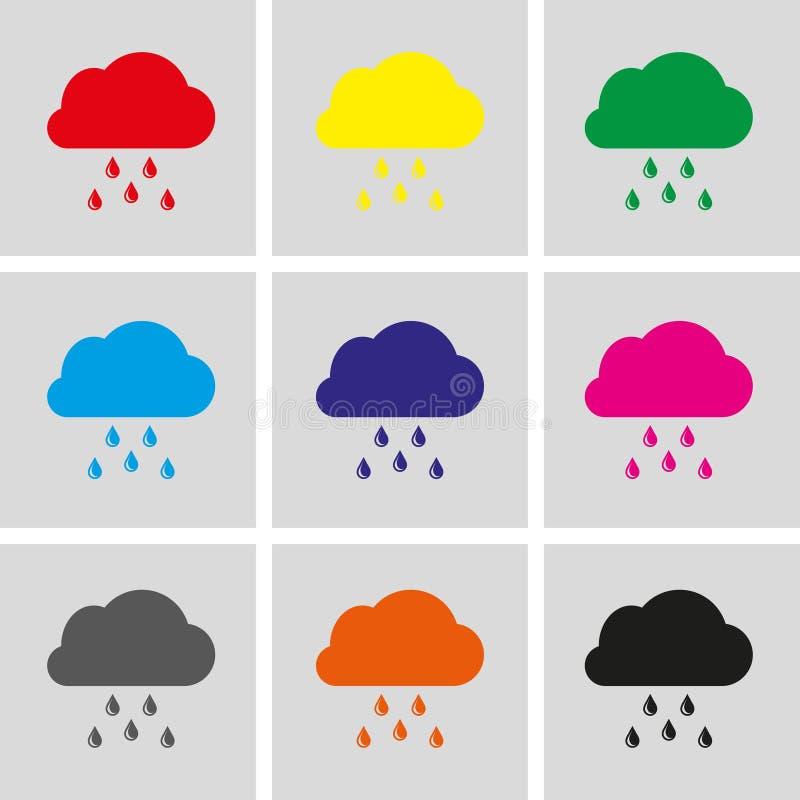 Wolk met van de het pictogramvoorraad van regendalingen vector de illustratie vlak ontwerp royalty-vrije illustratie