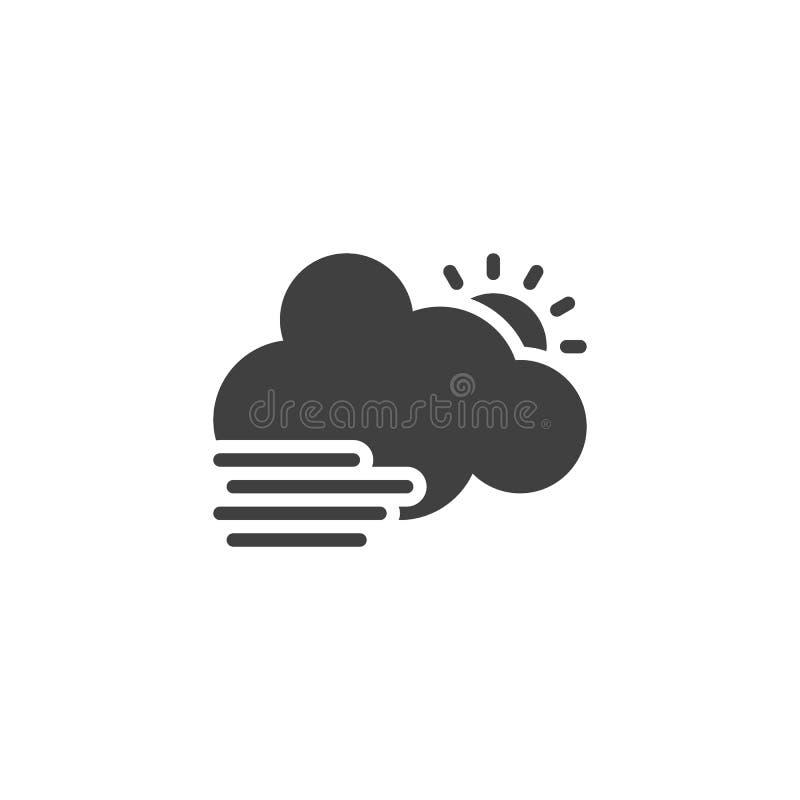 Wolk met zon en mist vectorpictogram vector illustratie