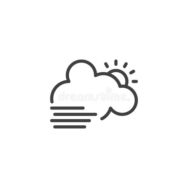 Wolk met zon en mistlijnpictogram vector illustratie
