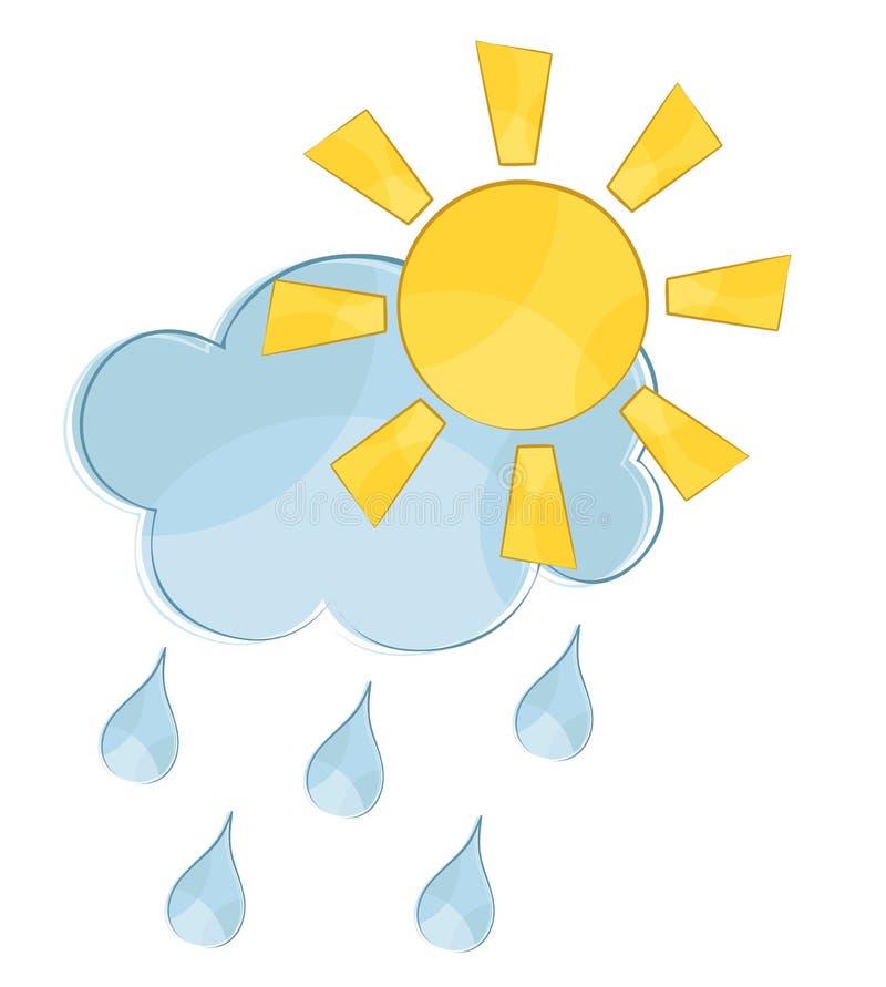 Wolk met zon en regen stock illustratie