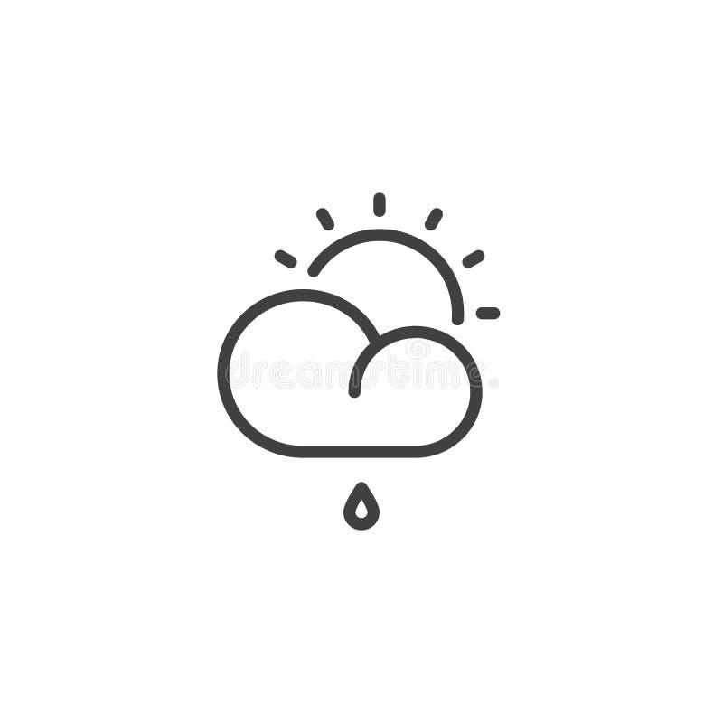wolk met zon en regendruppellijnpictogram vector