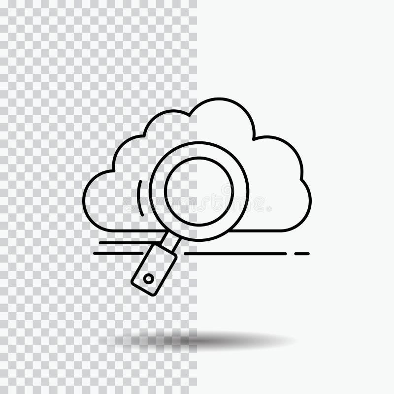 wolk, onderzoek, opslag, technologie, het Pictogram van de gegevensverwerkingslijn op Transparante Achtergrond Zwarte pictogram v stock illustratie