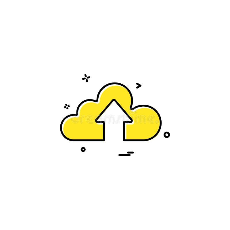 wolk op de vector van de pictogrampijl stock illustratie