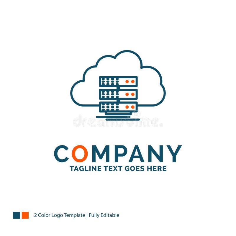 wolk, opslag, gegevensverwerking, gegevens, stroom Logo Design Blauw en Oran royalty-vrije illustratie