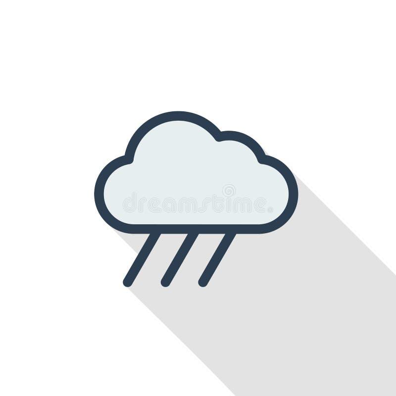 Wolk, pictogram van de de lijn vlakke kleur van het regenweer het dunne Lineair vectorsymbool Kleurrijk lang schaduwontwerp royalty-vrije illustratie