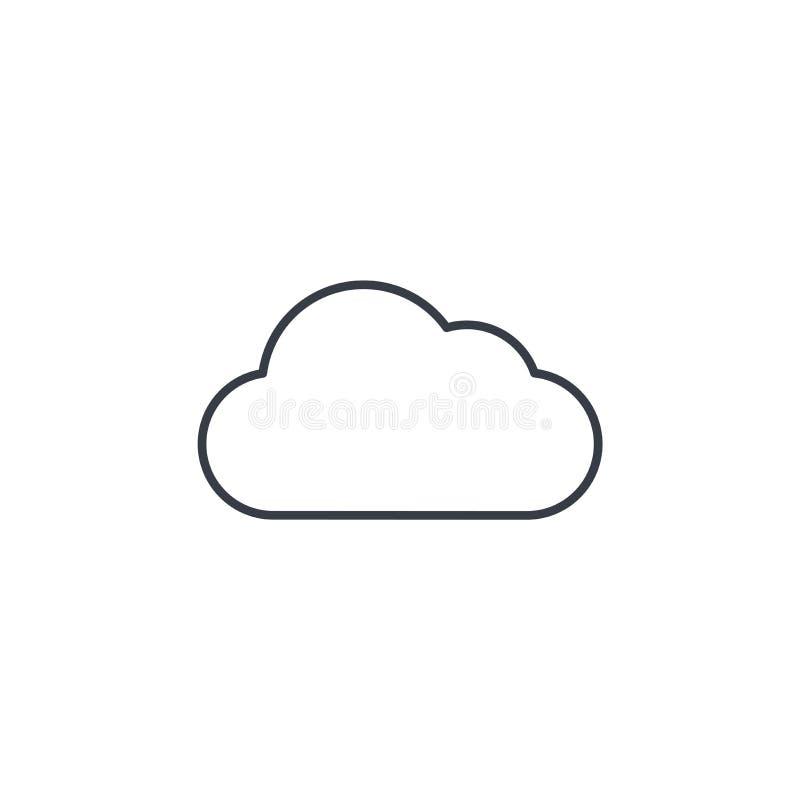 Wolk, pictogram van de weer het dunne lijn Lineair vectorsymbool stock illustratie