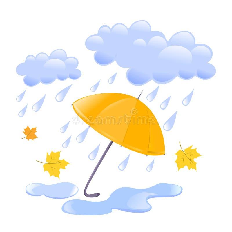Wolk, regen en paraplu vector illustratie