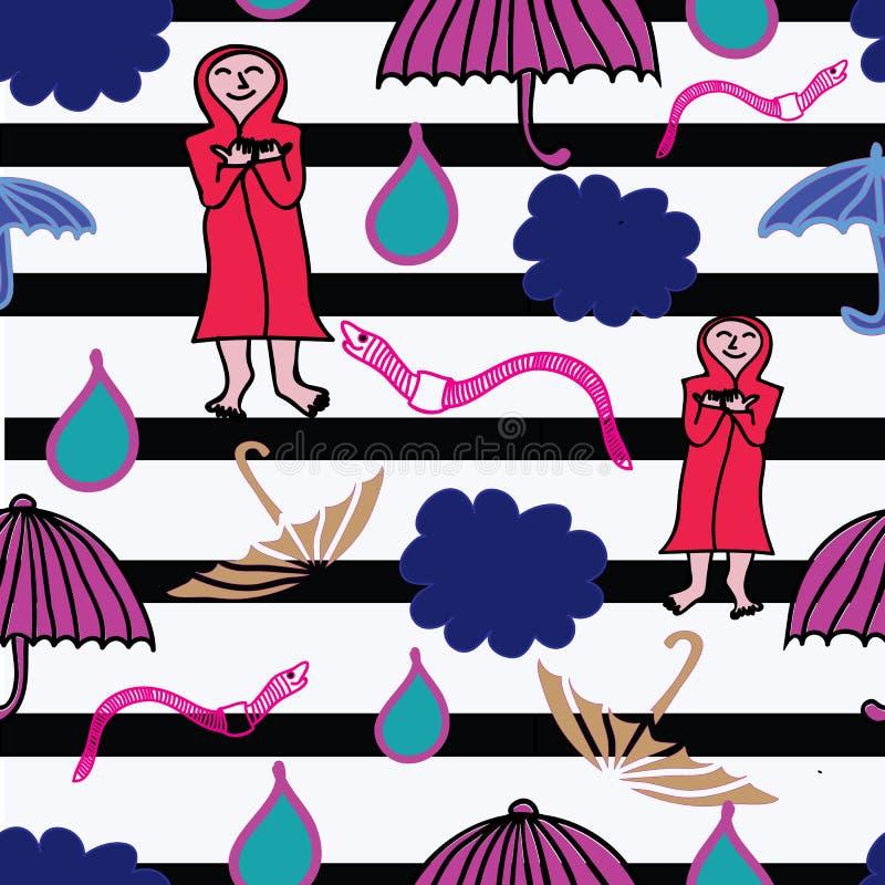Wolk, regenaardworm en geopende paraplu in de regen Vlakke stijlillustratie stock illustratie