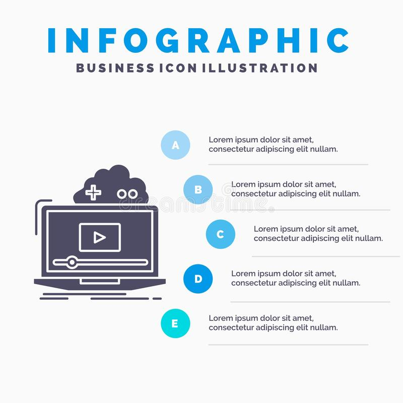 Wolk, spel, online, stromend, videoinfographics-Malplaatje voor Website en Presentatie GLyph Grijs pictogram met Blauwe infograph vector illustratie