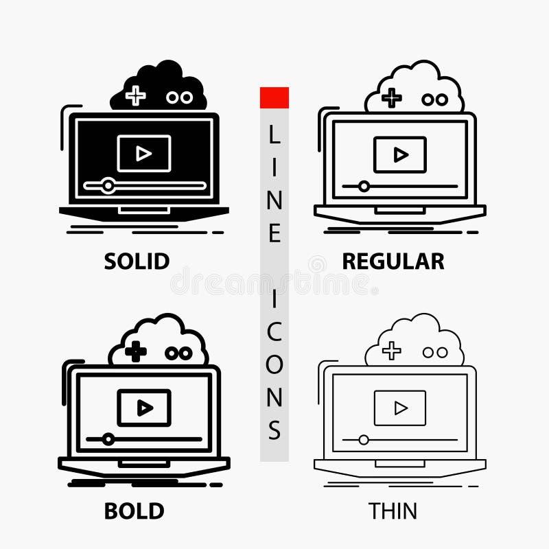 Wolk, spel, online, stromend, videopictogram in Dunne, Regelmatige, Gewaagde Lijn en Glyph-Stijl Vector illustratie royalty-vrije illustratie